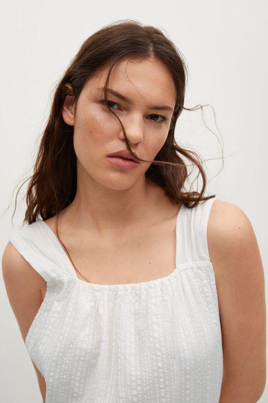 bílá Mango - Bavlněné šaty Coquet