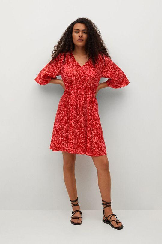Mango - Šaty Rainbow červená