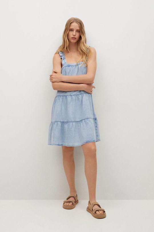 Mango - Sukienka bawełniana SIBILA niebieski
