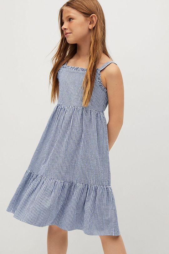 modrá Mango Kids - Dětské bavlněné šaty Finja 110-164 cm Dívčí