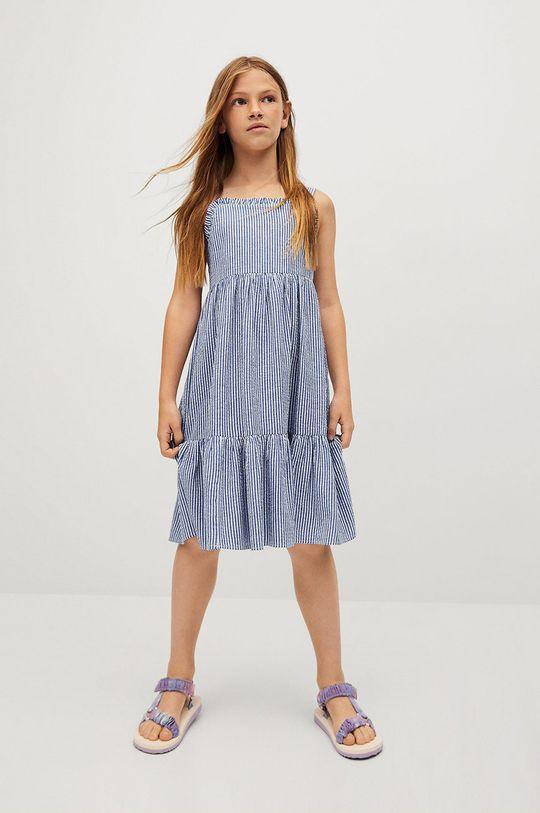 Mango Kids - Dětské bavlněné šaty Finja 110-164 cm modrá
