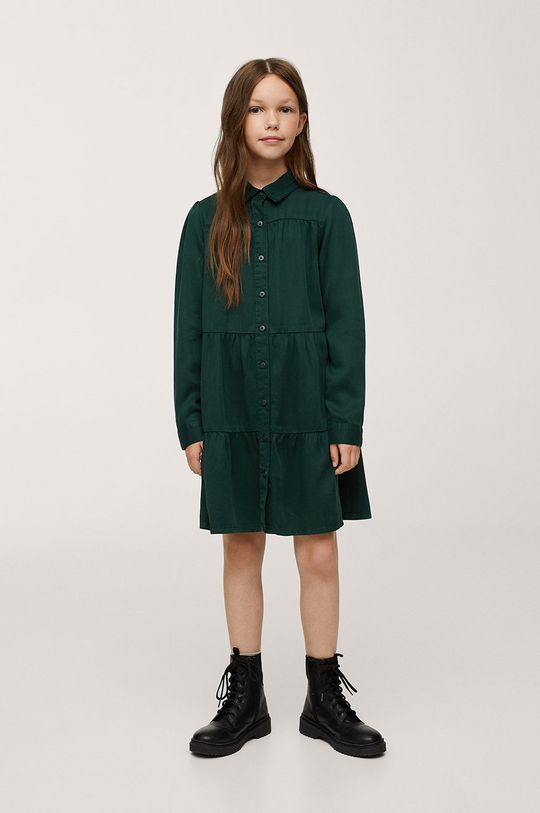 zelená Mango Kids - Dívčí šaty Sunday Dívčí