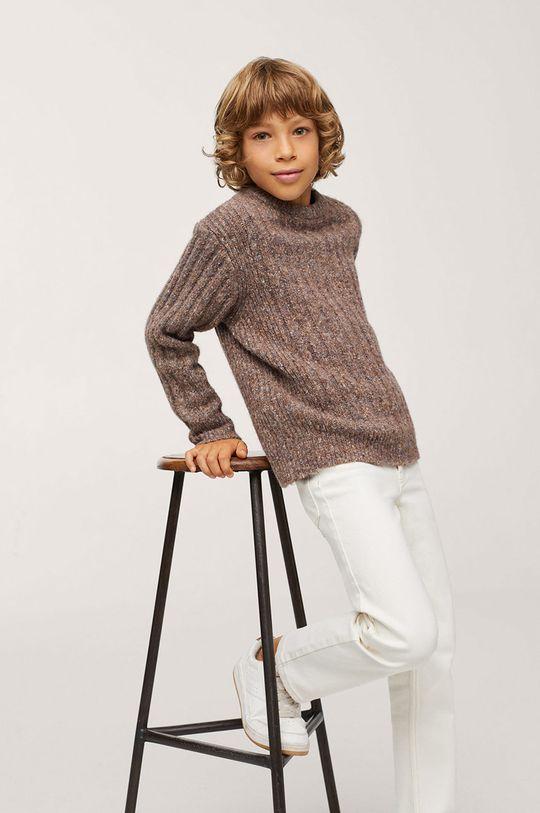 Mango Kids - Sweter dziecięcy Chelsea brązowy