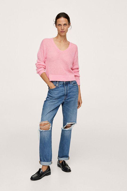Mango - Sweter GERY różowy