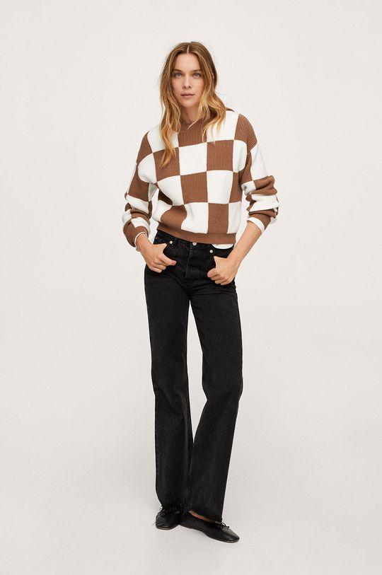 Mango - Sweter Chess brązowy