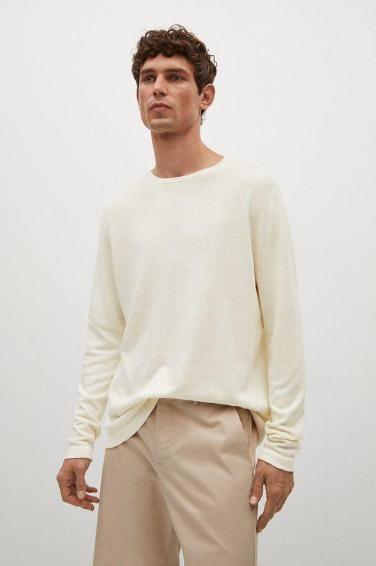 biały Mango Man - Sweter Avena Męski