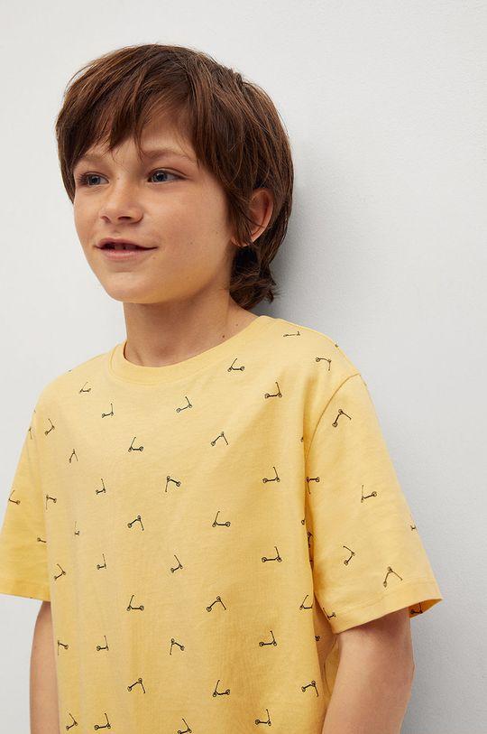 Mango Kids - T-shirt dziecięcy STAMP1 żółty