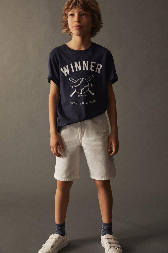 Mango Kids - T-shirt dziecięcy WINNER granatowy