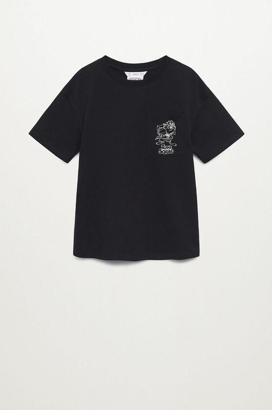 černá Mango Kids - Dětské bavlněné tričko Squad 116-164 cm Chlapecký