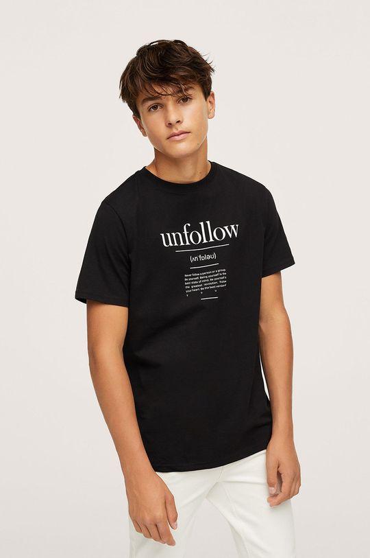 negru Mango Kids - Tricou de bumbac pentru copii Unfollow De băieți