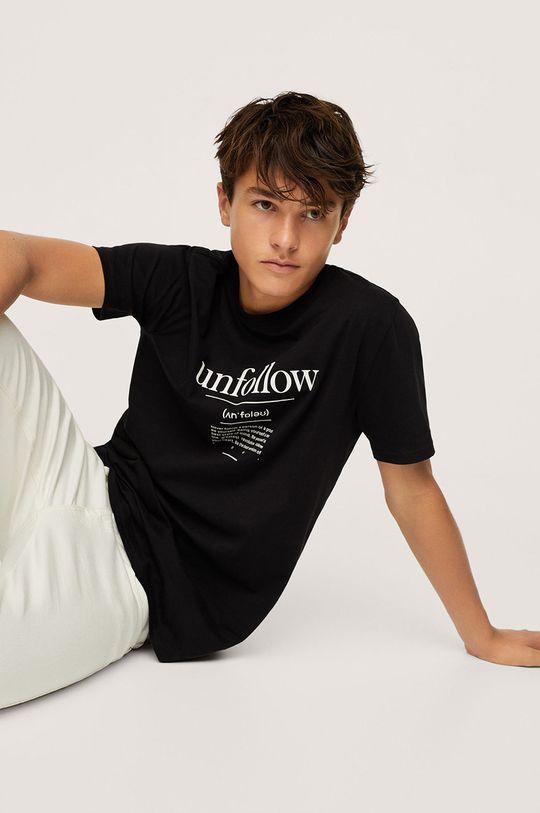 negru Mango Kids - Tricou de bumbac pentru copii Unfollow