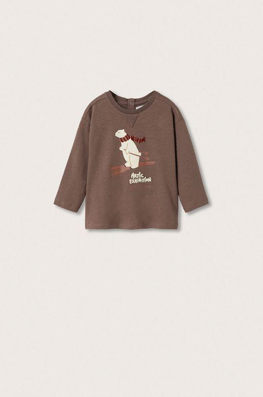 hnědá Mango Kids - Dětská bavlněná košile s dlouhým rukávem Artic Chlapecký