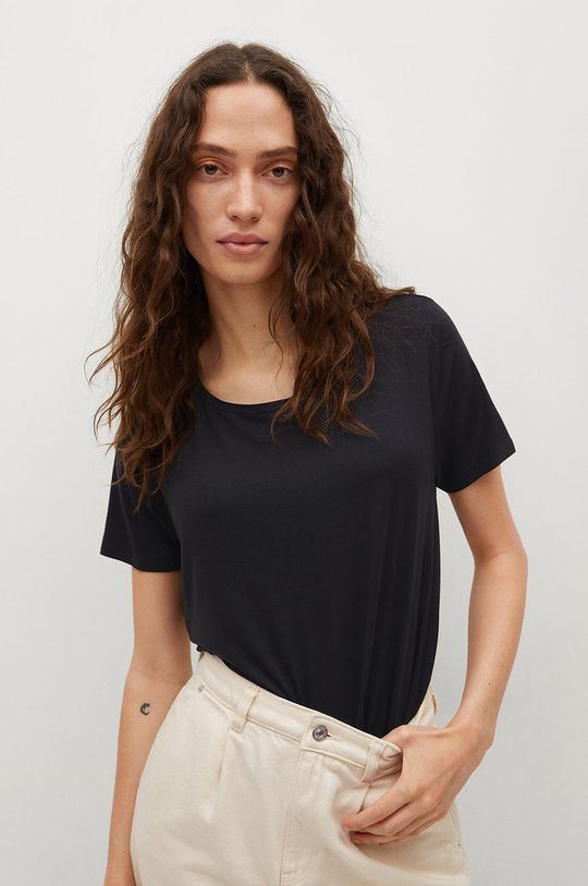 czarny Mango - T-shirt Visca Damski