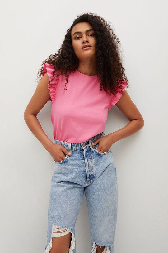 różowy Mango - T-shirt bawełniany Pepi Damski