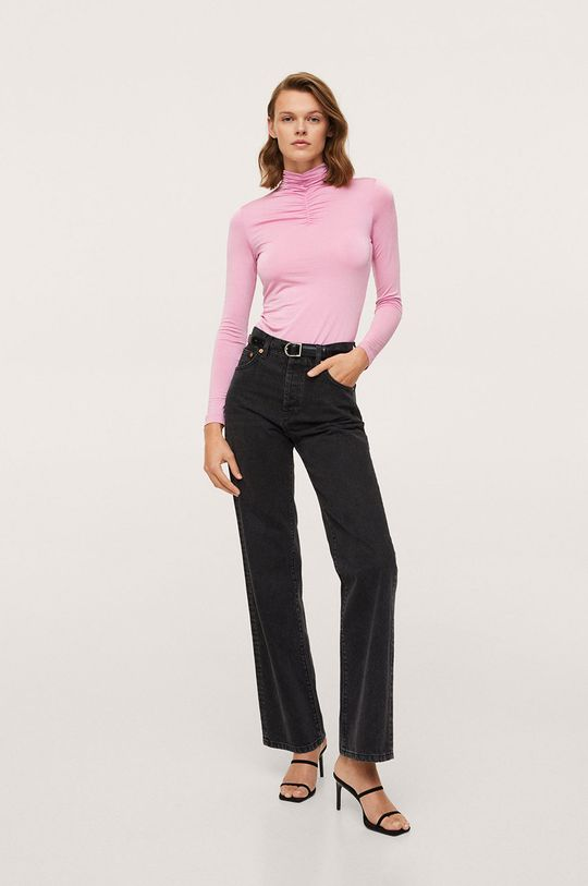 Mango - Tričko s dlouhým rukávem Cpkoko růžová