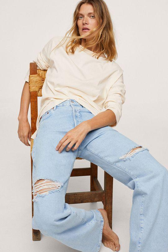 bílá Mango - Bavlněné tričko s dlouhým rukávem Spcati