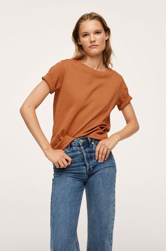 tmavě hnědá Mango - Bavlněné tričko Soli Dámský