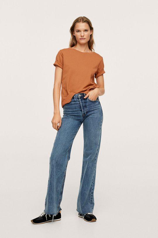 Mango - Bavlněné tričko Soli tmavě hnědá