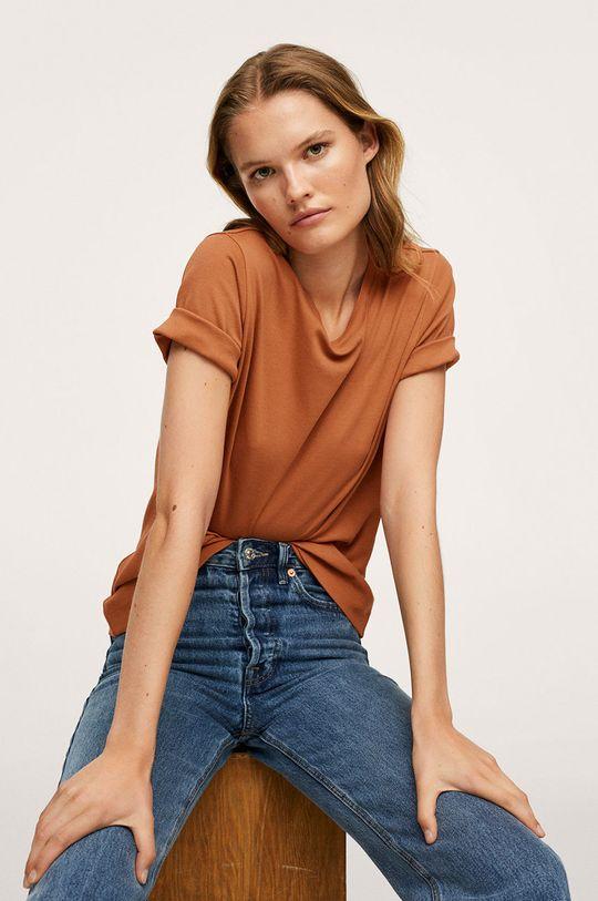 tmavě hnědá Mango - Bavlněné tričko Soli