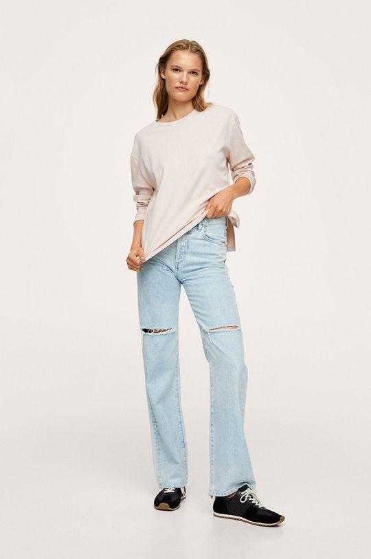 Mango - Bavlněné tričko s dlouhým rukávem Luna béžová