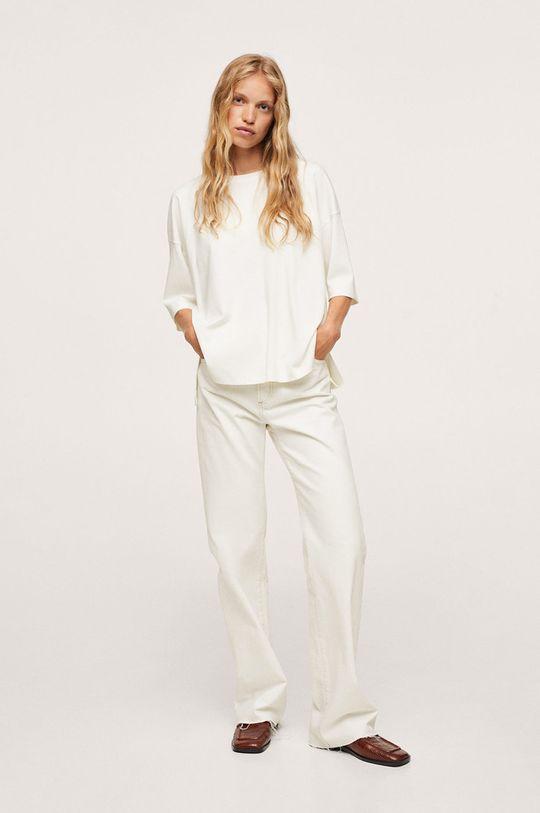 Mango - T-shirt bawełniany Sita biały