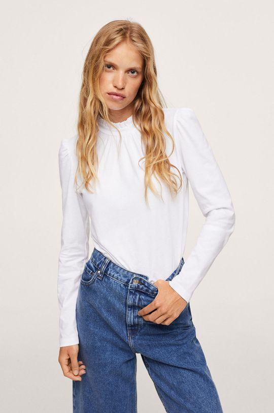 bílá Mango - Bavlněné tričko s dlouhým rukávem Roca Dámský