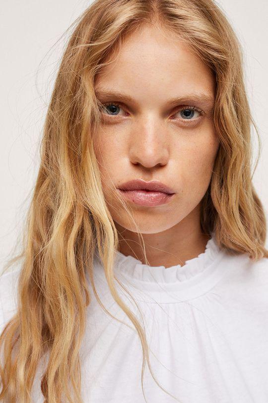 bílá Mango - Bavlněné tričko s dlouhým rukávem Roca