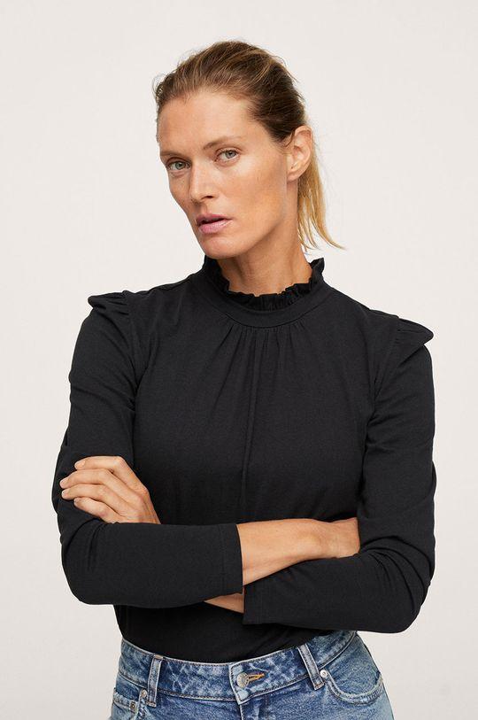 černá Mango - Bavlněné tričko s dlouhým rukávem Roca Dámský