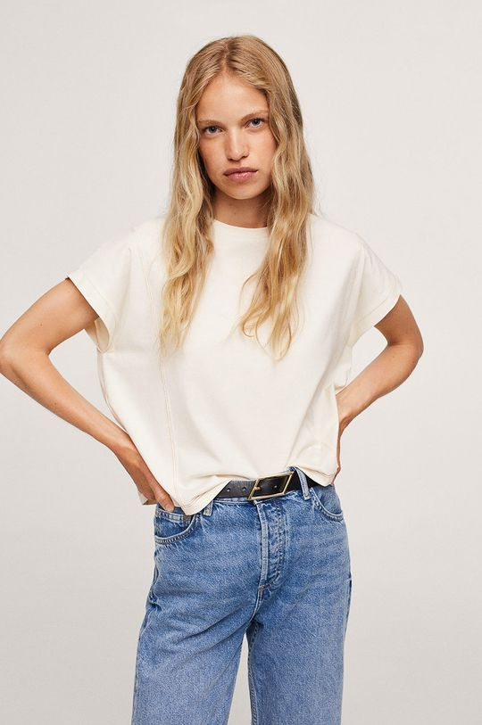 bílá Mango - Bavlněné tričko Spcharo Dámský