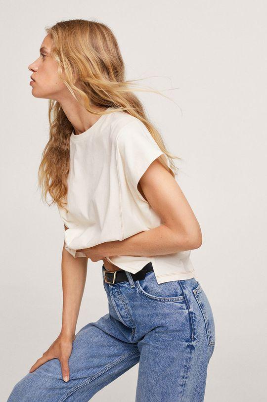 bílá Mango - Bavlněné tričko Spcharo