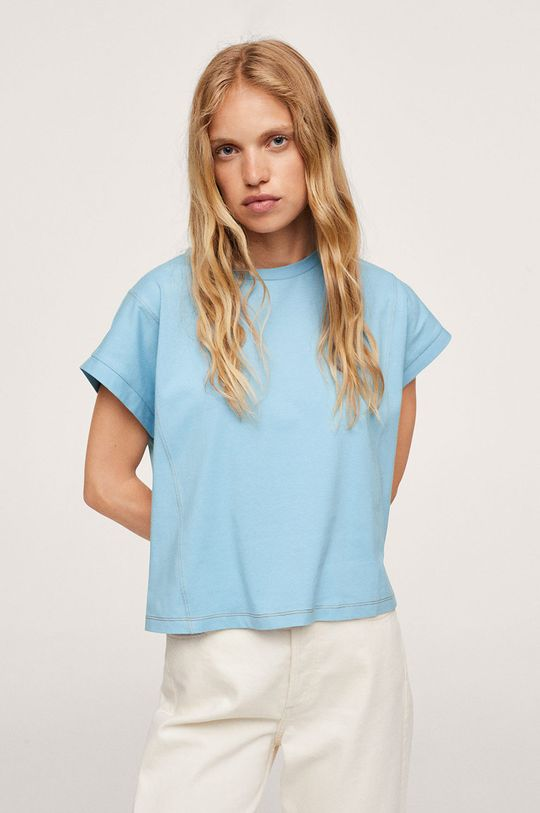 blady niebieski Mango - T-shirt bawełniany Spcharo Damski