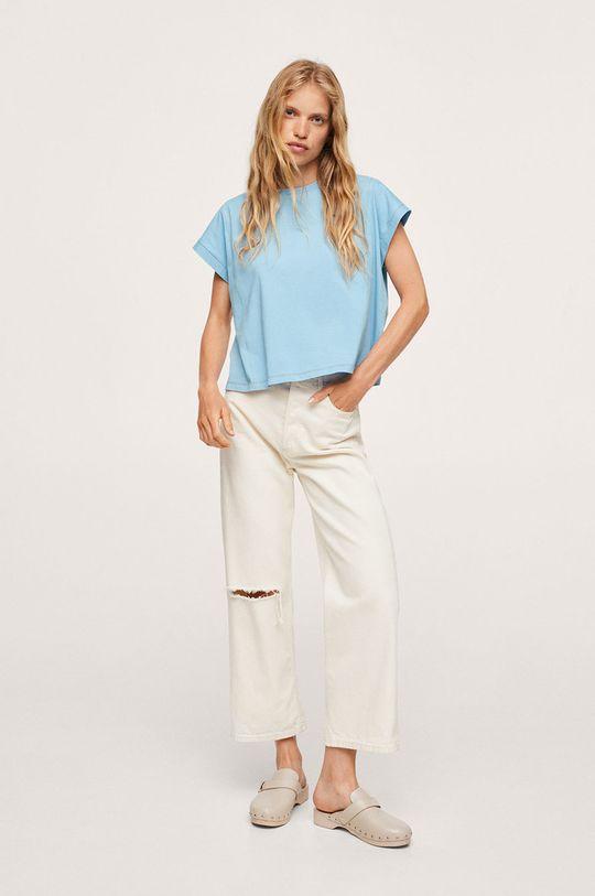 Mango - T-shirt bawełniany Spcharo blady niebieski