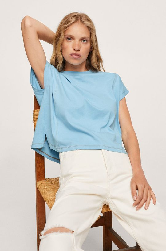 blady niebieski Mango - T-shirt bawełniany Spcharo