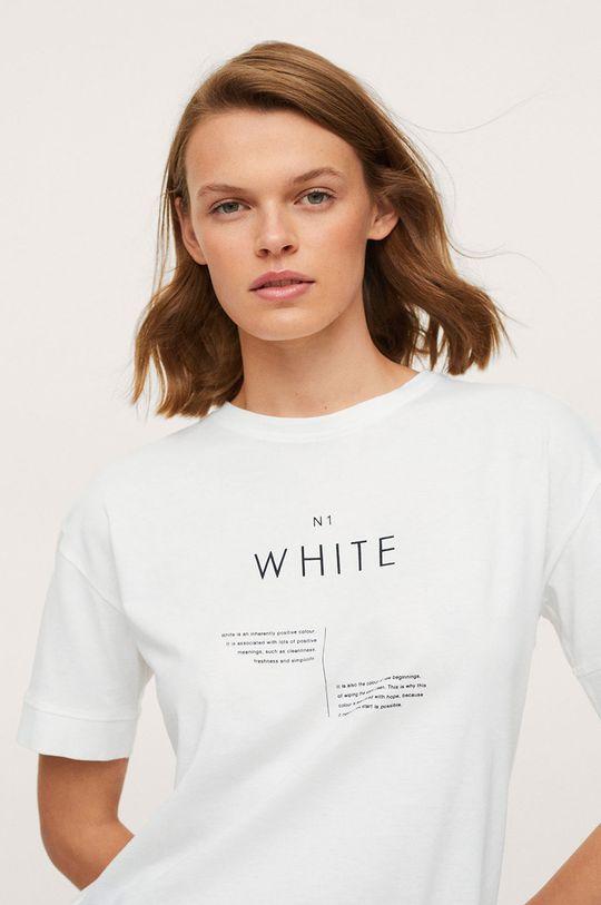 bílá Mango - Bavlněné tričko Pstcolor Dámský