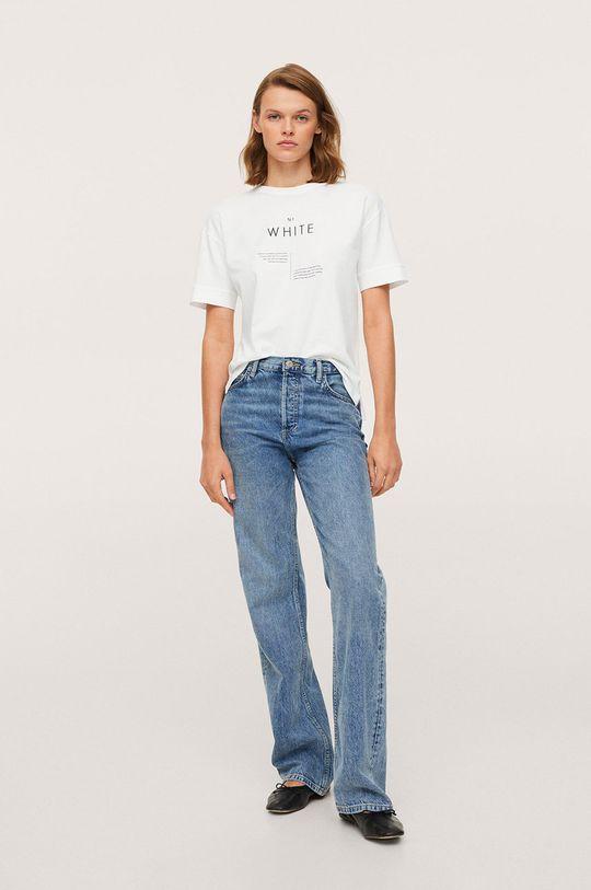 Mango - Bavlněné tričko Pstcolor bílá