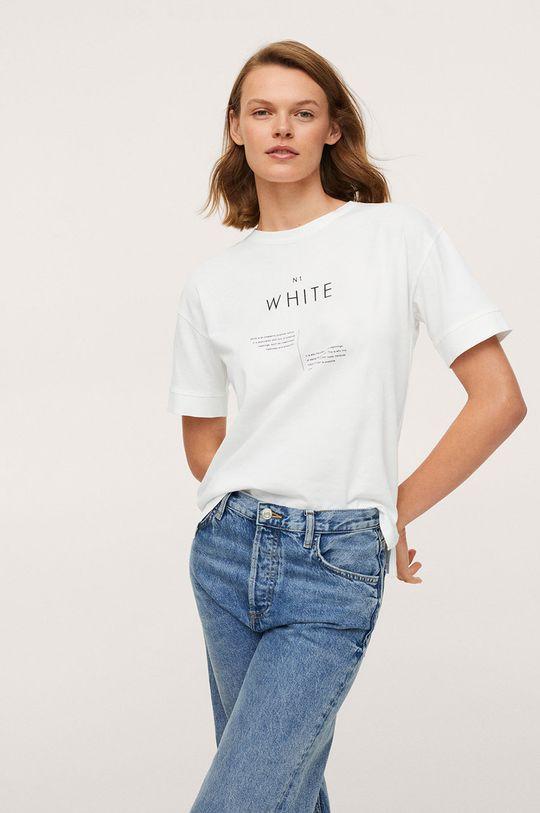 bílá Mango - Bavlněné tričko Pstcolor