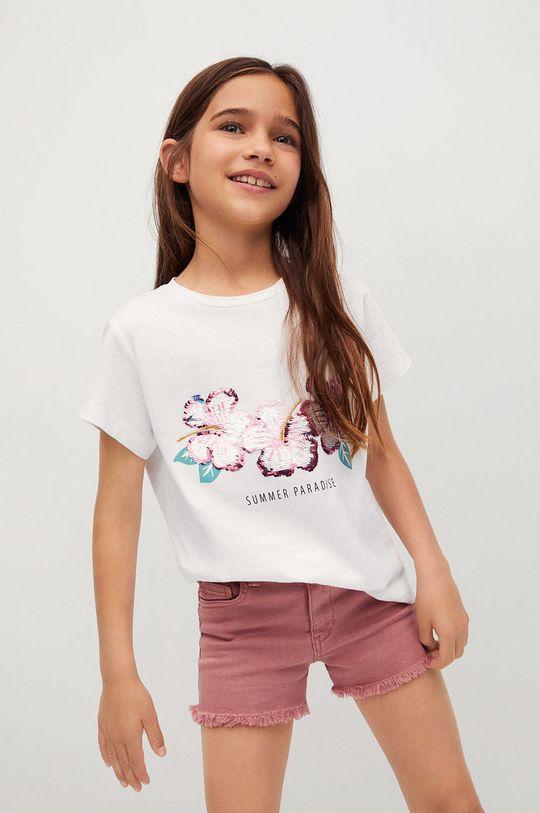 biały Mango Kids - T-shirt dziecięcy SEQUI Dziewczęcy