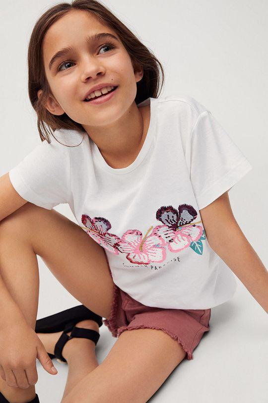Mango Kids - T-shirt dziecięcy SEQUI biały