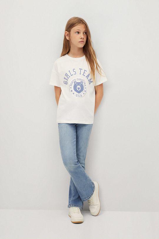 Mango Kids - Detské bavlnené tričko OSA biela