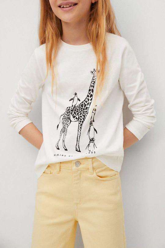 biela Mango Kids - Detské tričko s dlhým rukávom Sheldon Dievčenský