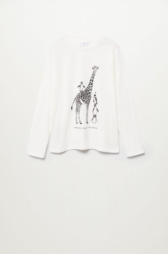 biela Mango Kids - Detské tričko s dlhým rukávom Sheldon