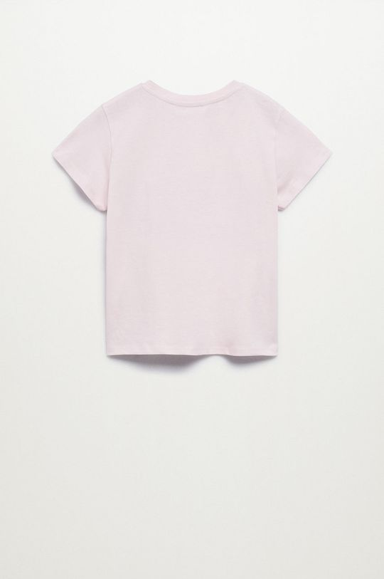 Mango Kids - Tricou de bumbac pentru copii Bye roz pastelat