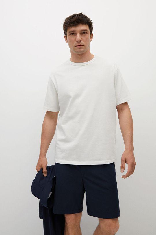 biały Mango Man - T-shirt bawełniany Anouk Męski