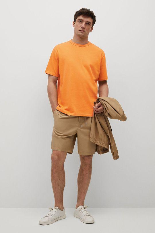 Mango Man - T-shirt bawełniany Anouk pomarańczowy