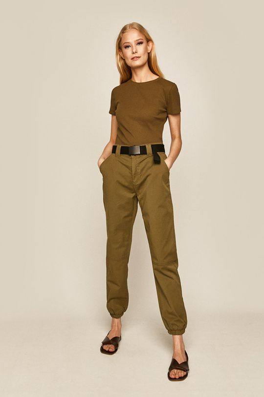 brudny zielony Medicine - Spodnie Basic