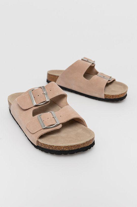 Medicine - Semišové pantofle Summer Linen pastelově růžová