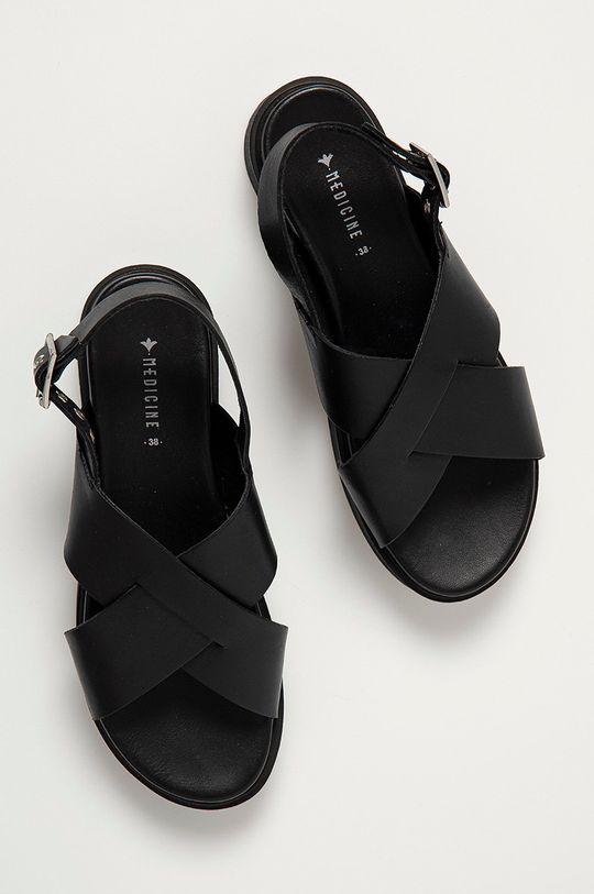 černá Medicine - Kožené sandály Summer Linen