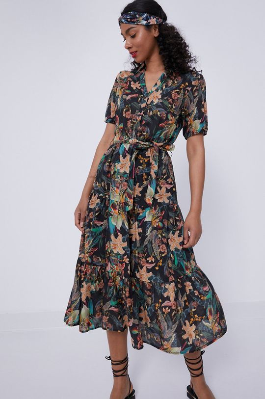 czarny Medicine - Sukienka Tropical Chaos Damski