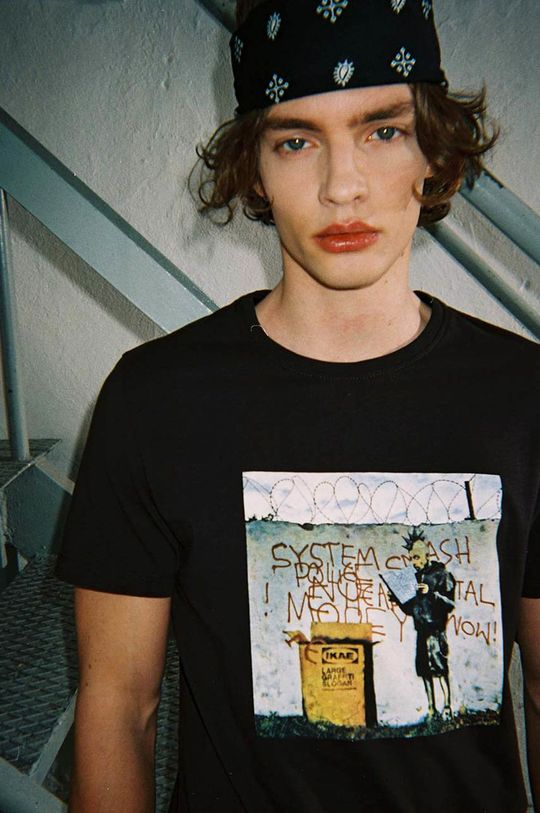 szary Medicine - T-shirt Banksy's Graffiti Męski