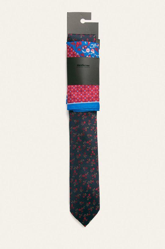granatowy Medicine - Krawat i poszetka Basic Męski